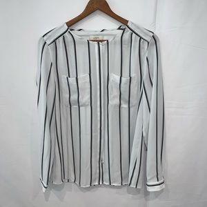 Ann Taylor Loft striped button down career blouse